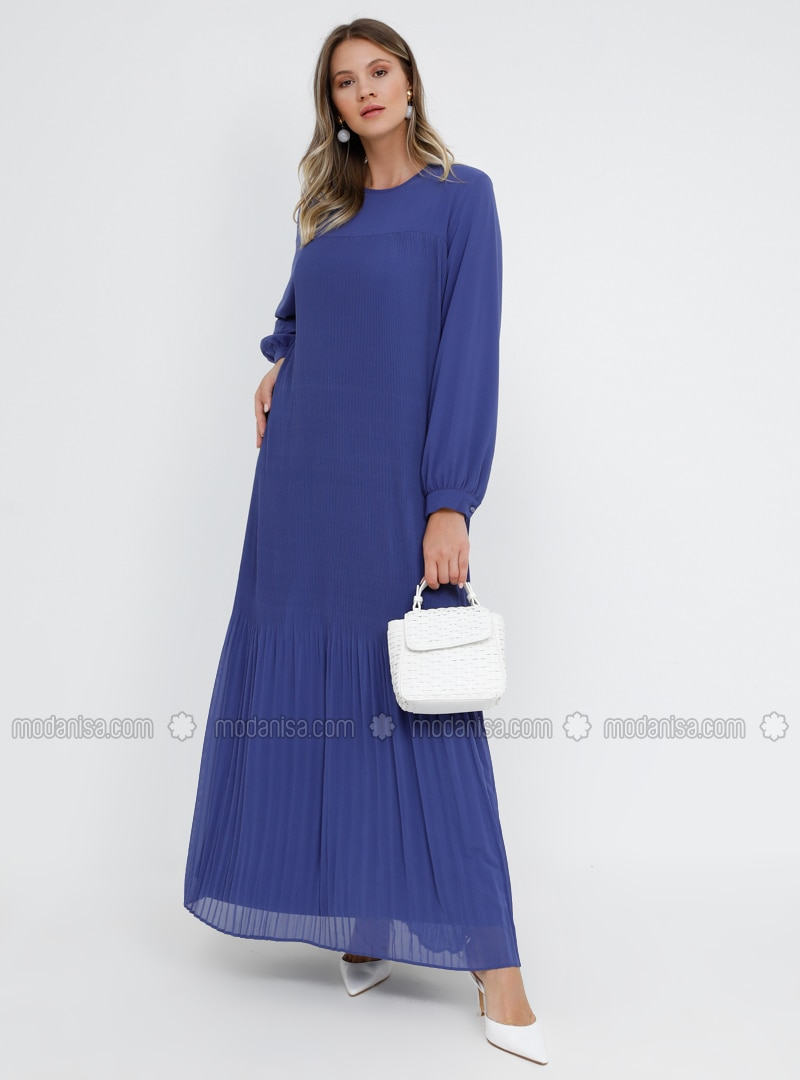 Saxe - Indigo - Fully Lined - Crew neck - Muslim Plus Size Evening Dress