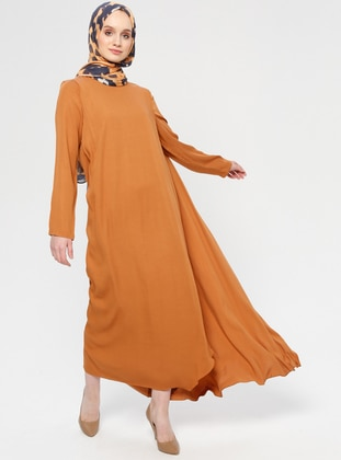 Tan - Crew neck - Fully Lined - Dresses