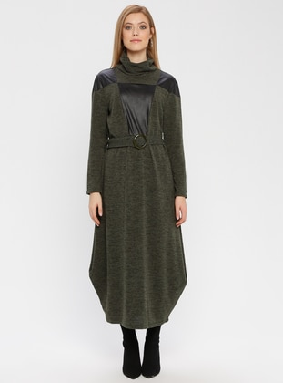 Green - Polo neck - Unlined - Dresses