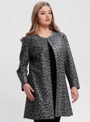 Gray - Leopard - Crew neck - Unlined - Plus Size Evening Suit