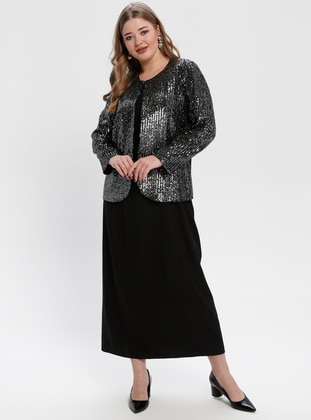 Smoke-coloured - Crew neck - Fully Lined - Plus Size Evening Suit
