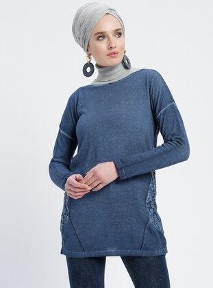 Navy Blue - Boat neck - Acrylic -  - Tunic