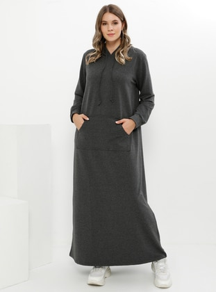 Anthracite - Unlined - Plus Size Dress - Alia