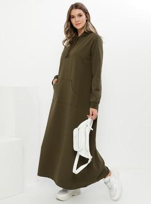 Khaki - Unlined - Plus Size Dress - Alia
