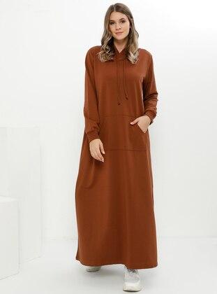 Brown - Unlined - Plus Size Dress - Alia