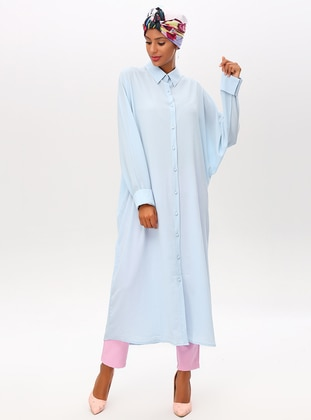 Baby Blue - Point Collar - Dresses