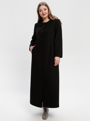 Black - Fully Lined - Crew neck - Plus Size Coat - Nihan