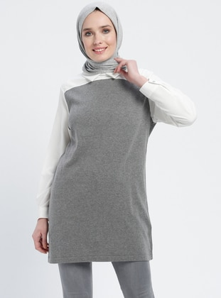 White - Gray - Ecru - Point Collar - Cotton - Acrylic -  - Tunic