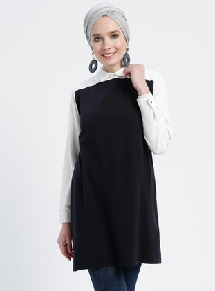 White - Navy Blue - Ecru - Point Collar - Cotton - Acrylic -  - Tunic