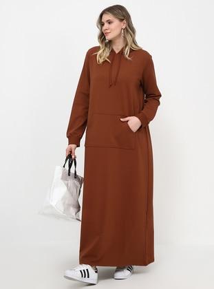 Brown - Unlined - Plus Size Dress
