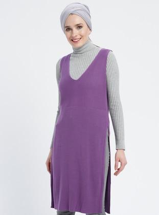 Purple - V neck Collar - Acrylic -  - Plus Size Tunic