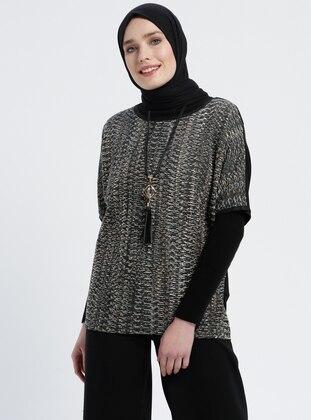 Black - Khaki - Crew neck - Plus Size Blouse