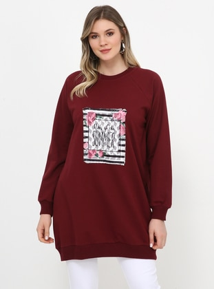 Maroon - Crew neck - Cotton - Plus Size Tunic