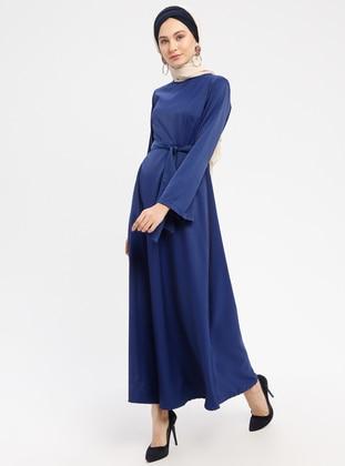 Blue - Navy Blue - Saxe - Indigo - Crew neck - Unlined - Dresses