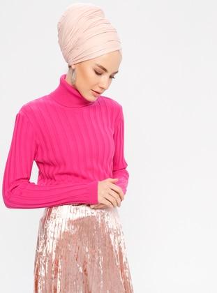 Pink - Fuchsia - Polo neck - Acrylic -  - Jumper