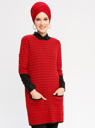 Red - Black - Multi - Crew neck - Acrylic - Tunic