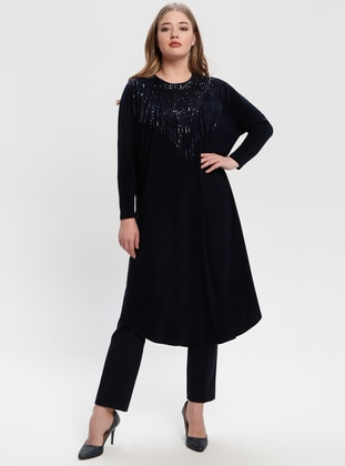 Navy Blue - Crew neck - Plus Size Tunic