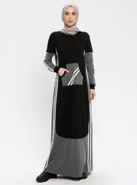 Black - Multi - Crew neck - Unlined - Dresses