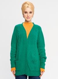 Green - V neck Collar - Acrylic -  - Cardigan