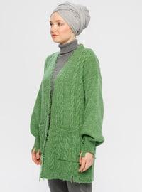 Green - V neck Collar -  - Cardigan