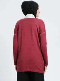 Maroon - Boat neck - Acrylic -  - Tunic