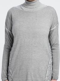 Gray - Boat neck - Acrylic -  - Tunic