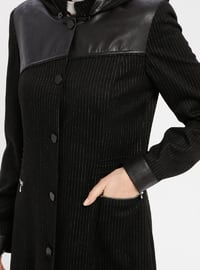 Black - Stripe - Fully Lined - Crew neck - Topcoat