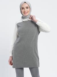 White - Gray - Ecru - Point Collar - Cotton - Acrylic -  - Tunic