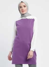 White - Purple - Ecru - Point Collar - Cotton - Acrylic -  - Tunic