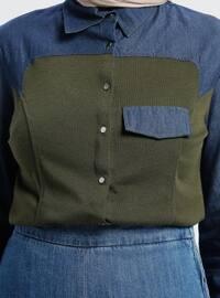 Blue - Khaki - Point Collar - Blouses