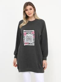 Gray - Anthracite - Crew neck - Cotton - Plus Size Tunic