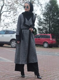 Black - Gray - Shawl Collar - Cardigan