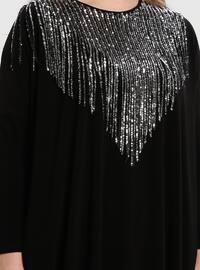 Black - Silver tone - Crew neck - Plus Size Tunic