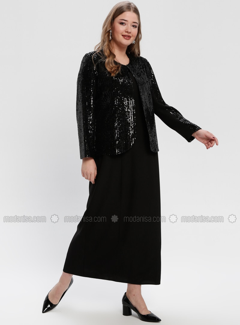 Black - Crew neck - Fully Lined - Plus Size Evening Suit
