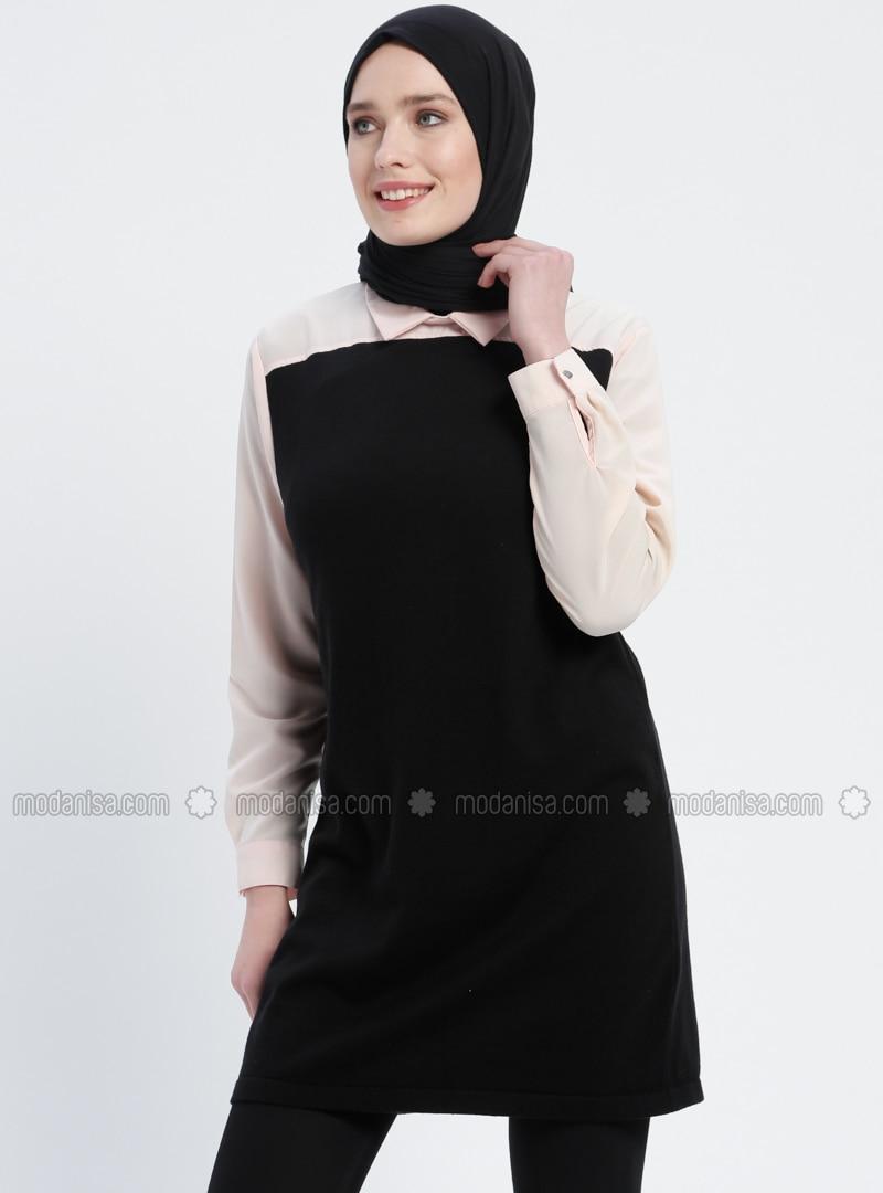 Black - White - Ecru - Point Collar - Cotton - Acrylic - - Tunic 4a65a7843