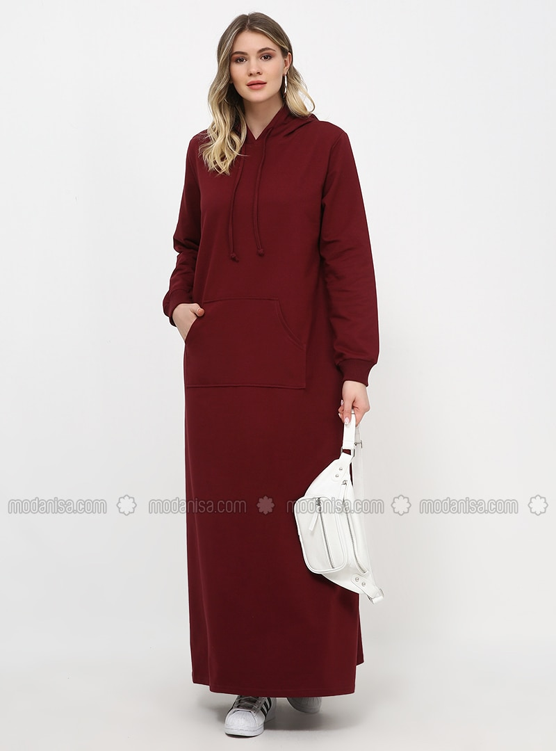 Maroon - Unlined - Plus Size Dress