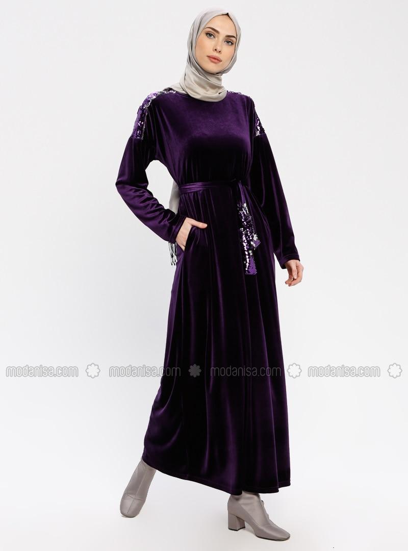 Plum - Crew neck - Unlined - Dresses