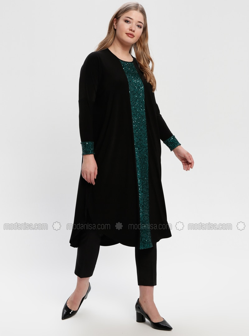 Black - Emerald - Crew neck - Plus Size Tunic