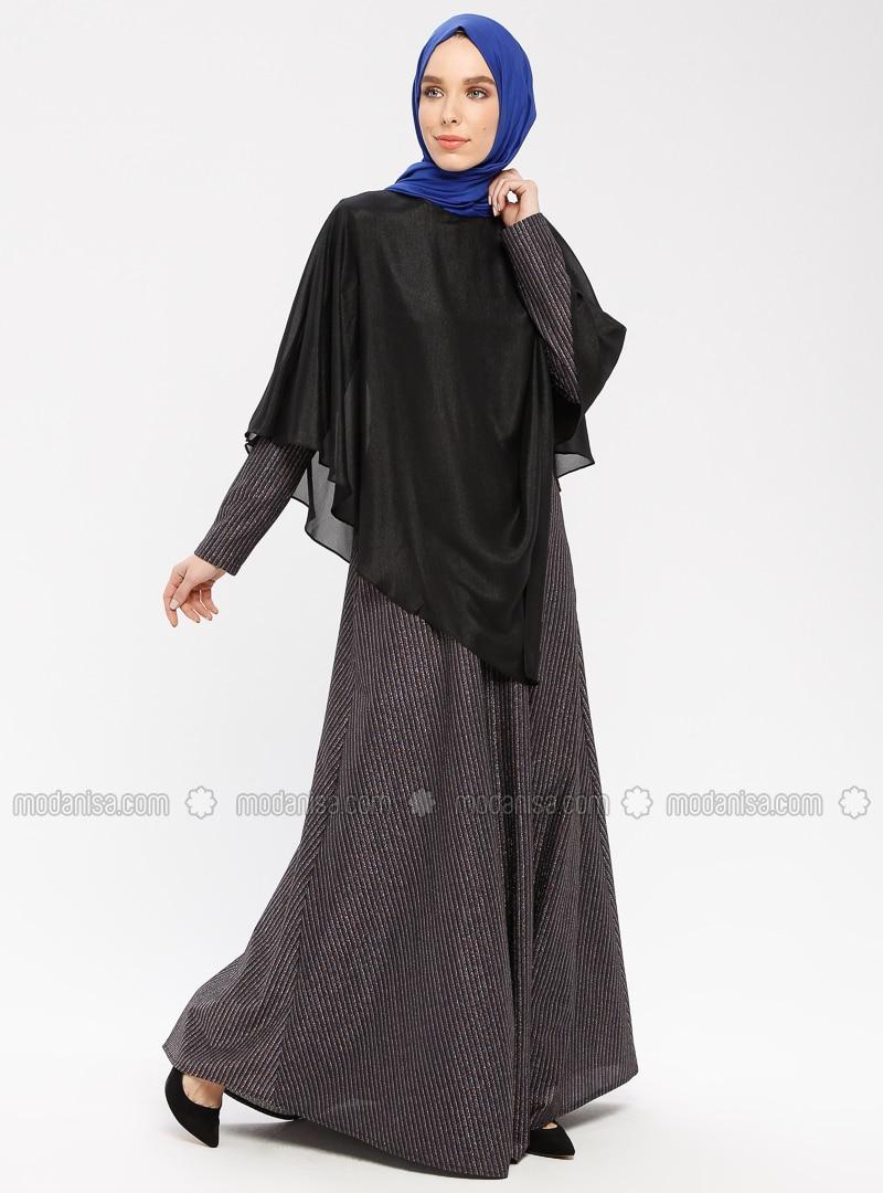 Blue - Navy Blue - Purple - Indigo - Stripe - Fully Lined - Crew neck - Cotton - Muslim Evening Dress