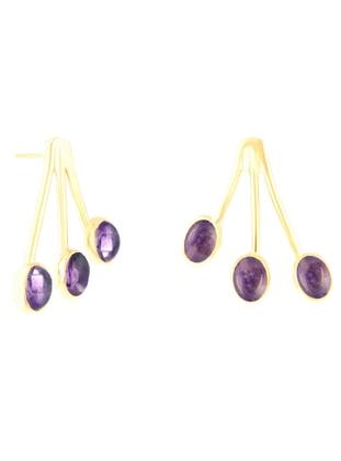 Purple - Golden tone - Earring