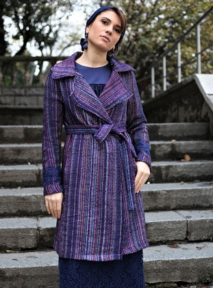 Purple - Stripe - Unlined - Shawl Collar - Topcoat