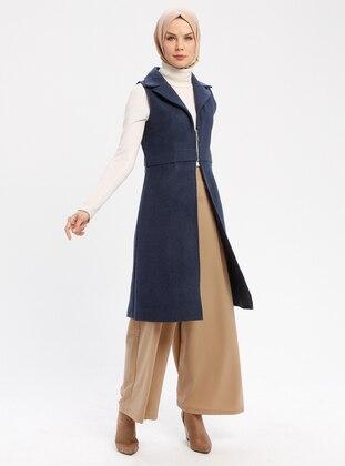 Navy Blue - Indigo - Unlined - Shawl Collar - Vest