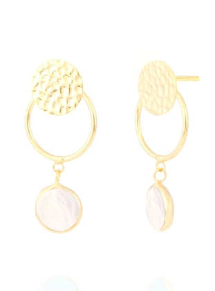 White - Yellow - Golden tone - Earring