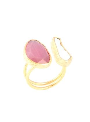 White - Pink - Golden tone - Ring