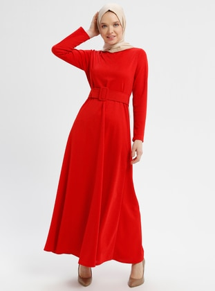 Coral - Crew neck - Unlined - Dresses