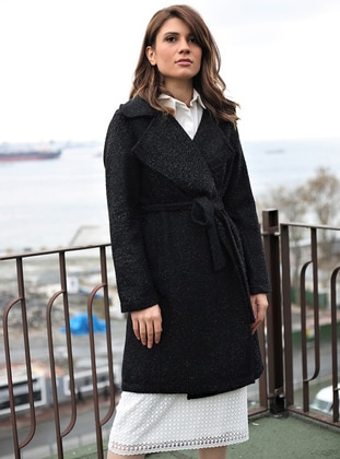 Black - Stripe - Unlined - Shawl Collar - Topcoat