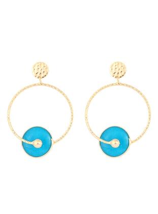 Blue - Yellow - Golden tone - Earring