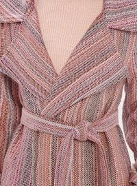 Pink - Stripe - Unlined - Shawl Collar - Topcoat