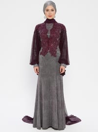 Purple - Plum - Fully Lined - Crew neck - Muslim Evening Dress