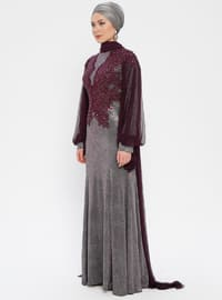 Purple - Plum - Fully Lined - Crew neck - Muslim Evening Dress